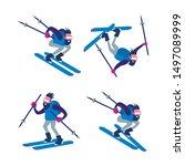 Skier Man Set. Falling Down...