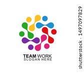 team work logo design. together.... | Shutterstock .eps vector #1497097829
