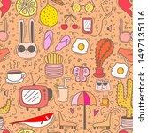doodle cartoon seamless pattern ... | Shutterstock .eps vector #1497135116
