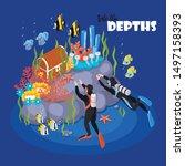 deep scuba diving adventure... | Shutterstock .eps vector #1497158393