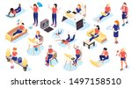 women and technology isometric... | Shutterstock .eps vector #1497158510