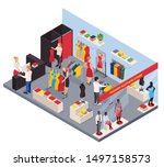 fashion clothes shop isometric... | Shutterstock .eps vector #1497158573