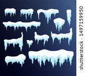 set of snow icicles  snow cap... | Shutterstock .eps vector #1497159950