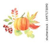 watercolor fall pumpkins set...   Shutterstock . vector #1497173090