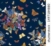 butterflies. seamless pattern.... | Shutterstock .eps vector #1497184880