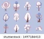 big set of cartoon trees. white ... | Shutterstock .eps vector #1497186413