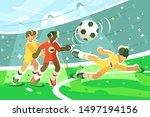 exciting football match vector... | Shutterstock .eps vector #1497194156