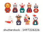 big christmas set with cute... | Shutterstock .eps vector #1497226226