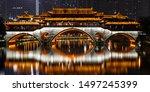 Night long exposure view on the Anshun Bridge (Jiu Yan Qiao) the famous touristic destination of Chengdu city, Sichuan province, China. Famous traditional restaurant located on the bridge.