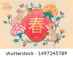 year of the rat design with... | Shutterstock .eps vector #1497245789
