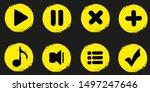 grunge round game icon. vector...