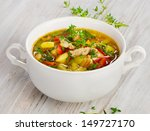 soup with vegetables and... | Shutterstock . vector #149727170