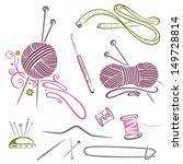 cotton,crafts,crochet,crochet hook,hobby,knitting,knitting needles,needles,needlework,pins,purple,sewing thread,tape measure,wool,yarn