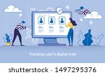 cartoon woman use computer  man ... | Shutterstock .eps vector #1497295376