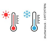 thermometer vector icon set.... | Shutterstock .eps vector #1497297896