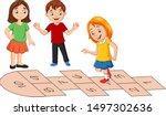 Children Playing Hopscotch On...