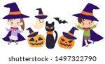 halloween  black cat and child  ... | Shutterstock .eps vector #1497322790