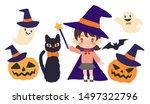 halloween  black cat and child  ... | Shutterstock .eps vector #1497322796