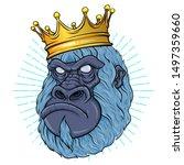 monkey face poster. vector... | Shutterstock .eps vector #1497359660