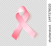 Realistic Pink Ribbon Over...