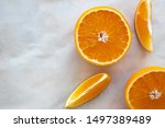 Top View Of Fresh Cut Oranges...