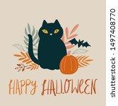 happy halloween greeting card...   Shutterstock .eps vector #1497408770