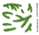 realistic branches of christmas ... | Shutterstock .eps vector #1497413489