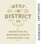 font west district. craft retro ... | Shutterstock .eps vector #1497418910