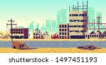 Destruction in war zone, natural disaster or cataclysm consequences, post-apocalyptic world cartoon vector concept. City ruins with destroyed, abandoned buildings, burned cars on streets illustration