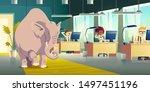 ignoring elephant in room... | Shutterstock .eps vector #1497451196