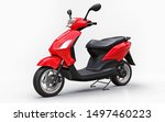 Modern Urban Red Moped On A...