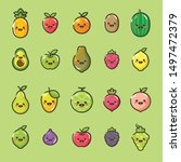 set of fruits and vegetables... | Shutterstock .eps vector #1497472379