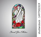 floral bright stained glass... | Shutterstock .eps vector #1497502319
