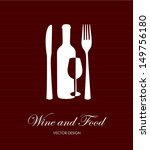 wine and food label over lineal ... | Shutterstock .eps vector #149756180