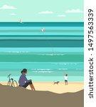kiting on sea beach. leisure...   Shutterstock . vector #1497563339