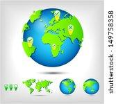 world map. globe. earth. planet.... | Shutterstock . vector #149758358