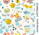 Colorful Doodle Dogs Words...