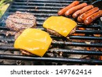 hamburgers with cheese and hot... | Shutterstock . vector #149762414