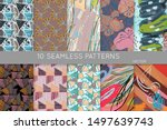 collection of seamless patterns.... | Shutterstock .eps vector #1497639743