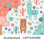 bear and llama cartoon design... | Shutterstock .eps vector #1497654380
