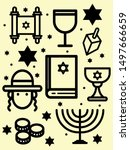 set of jewish celebratory... | Shutterstock .eps vector #1497666659