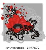 Big Red Vector Poppy On A Grey...