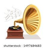 vintage gramophone with vinyl...   Shutterstock .eps vector #1497684683