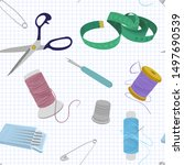 seamless vector sewing pattern...   Shutterstock .eps vector #1497690539