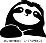 black and white sloth... | Shutterstock .eps vector #1497698603