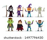 kids costumes happy halloween... | Shutterstock .eps vector #1497796430