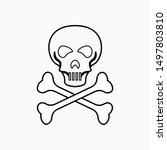 skull and coss bones icon  ...