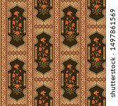 abstract mughal motif border... | Shutterstock .eps vector #1497861569