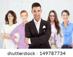 successful businessman leading...   Shutterstock . vector #149787734