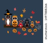 owls in halloween costumes... | Shutterstock .eps vector #1497888266